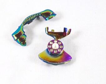 Telephone Brooch Rotary Phone Iridescent