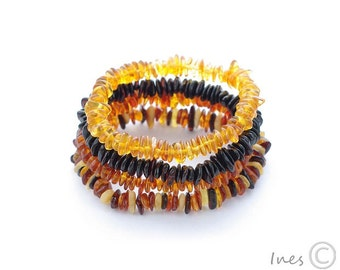 Baltic Amber Bracelet For Adults, Free Form Amber Beads