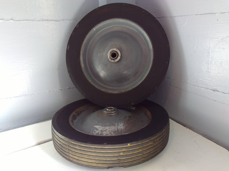 Vintage Metal Hard Rubber Wheel Cart Wheels Dolly