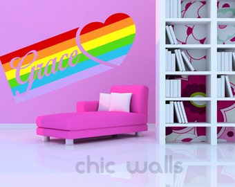 Personalized Name Carved In A Heart Rainbow Wall Art Decor Decal Vinyl Sticker Girls Kids Room