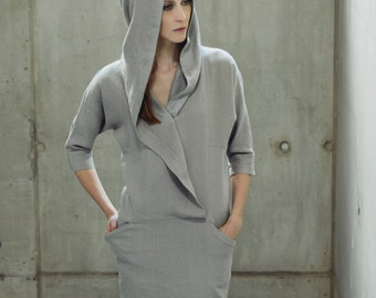 Linen Hooded Summer Dress Motumo 14S11