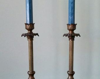 Set of Two Heavy, Vintage, Brass Candle Holders