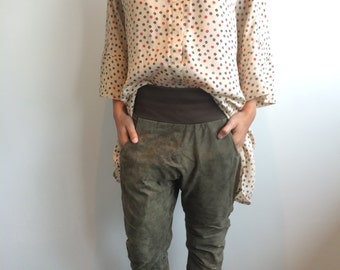 Handmade by R&U Boxy Super Oversized Blouse in Coffee Beans Print One Size S / M / L