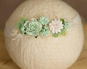 Newborn Mint and White Tieback or Headband, Baby Girl Photo Shoot Prop, Fits Newborn to Child, Ready to ship