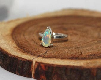 Welo opal sterling silver ring 6.25 US size , Rainbow fire Opal Ring, White Opal Ring, ethiopian opal faceted pear 11x6 mm silver ring:- 17