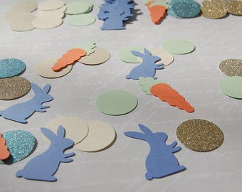 Peter rabbit party theme glitter and matte paper confetti table decor baby shower birthday rabbit carrot confetti easter table confetti