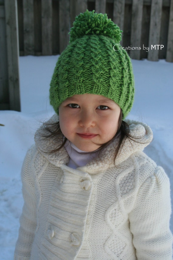 PDF KNITTING PATTERN - Knit Mock Cable Hat with Pom-Pom from ...