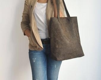 Vegan Dark Brown Tote Bag - back to school - Faux Leather - Vegan handbag - Water Resistant - Vegan Leather - Rustic Leather - Distressed