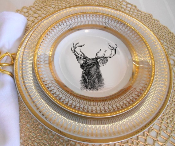 Like this item? & Gold Deer / Reindeer Plates Dinnerware Dishes Customized