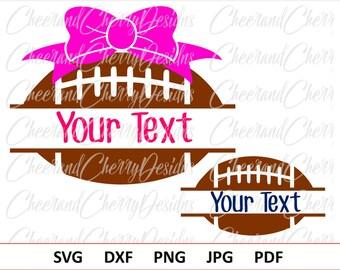 Football Bow Svg Football Svg file Football split Monogram SVG Girl Football Laces  SVG Football cut file for Cricut Sport Silhouette Cameo