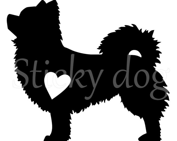 longhaired Chihuahua silhouette sticker
