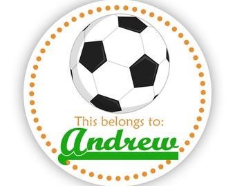 Name Tag Stickers - Orange Green, Sport Soccer Ball Personalized Name Label Sticker - 2 inch Round Sticker Tags - Back to School Name Labels