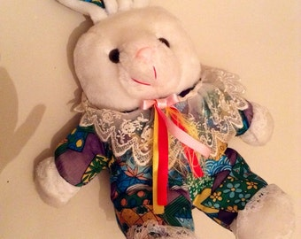 Vintage 1970s Tebro White Bunny With Psychedelic Purple Lace Body - Vintage Easter Gift Idea