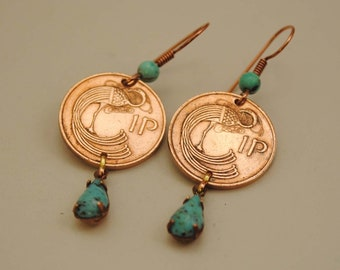 Ireland Coin Jewelry Earrings 1976 and 1979