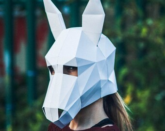 Paper Donkey Halloween Mask, Papercraft Template, Printable Mask, DIY Instant Download,