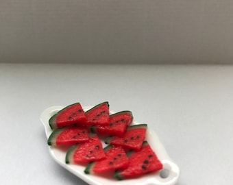 "1"" or 1/12 Scale Miniature Sliced Watermelon Platter"