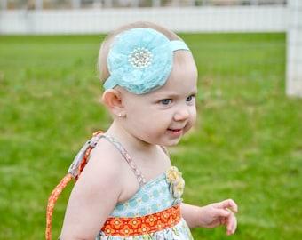 Aqua Lace Headband, Aqua Baby Headband, Aqua Flower Girl, Aqua Flower Headband, Newborn Photo Prop, Baby Shower Gift, Pastel Headband, Adult