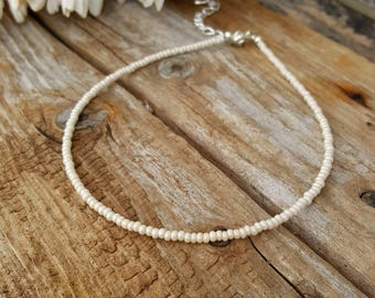 cream choker pearl seed bead necklace boho beach nautical cruise wedding