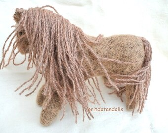 Horse, stuffed horse toy Waldorf education made of wool camel fabric