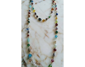 Handmade Beaded Various Glass Chain Link Necklace