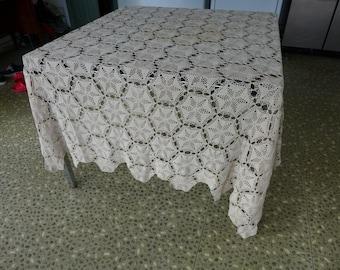 Elegant Fine Handmade Crochet Tablecloth