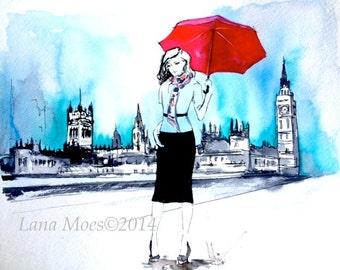 London Travel Red Umbrella Print from Watercolor Illustration - London - Lana's Art - Wanderlust