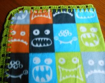 Monster faces Fleece Baby Blanket