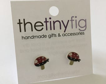 Limited Edition: Ninja Mushroom Earrings | Sterling Silver Posts Studs | Gifts For Her