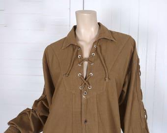 90s Lace-Up Shirt in Tan / Golden Brown- 1990s Vintage Men's Grunge Hippie Renaissance Garb- Cotton- Pirate / Poet / Gypsy