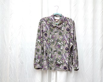 Oversized blouse / green purple white color / flower pattern / IMAGE / 80s