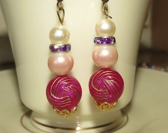 Handmade, Unique pink pierced earrings.