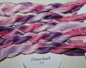 277 Cocoa Beach, Hand Dyed Variegated Stranded Cotton. Made in France, Fils a Soso, 8 metre skein, hand dyed yarn, pink and lilac tones.
