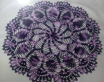 Large purple doily 18 inches-crochet doilies-dark purple doily-violet doily-Melange doilies-Handmade tablecloth-napkin