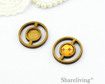 10pcs Circles Wooden 12mm Tray, Antique Wood Cameo Setting Charm / Pendant, Perfect for Earring Necklace  HW729A
