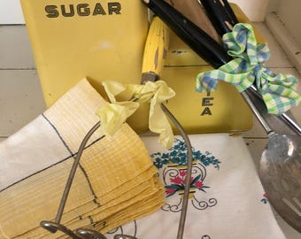 Vintage Springtime Kitchen Lot! Lots of Yellow cannisters antique toweling and tools!