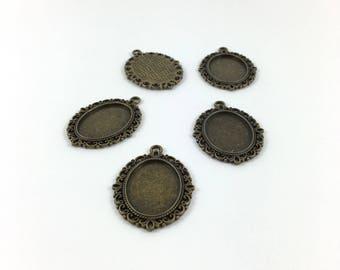 Set of 5 medium oval cabochon pendants bronze 25 x 18 mm