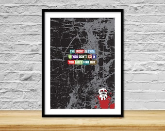 Irony, Print, Typography, Saying, Inspirational, Art Print on Paper, Unique gift, Cool wall art, Rock n roll, Quote, Grungy, Inspire, Skull