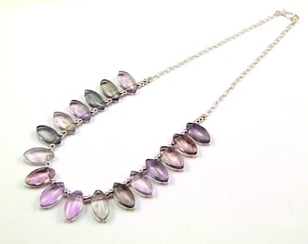 Lilac Fluorite Sterling Silver Necklace - N657