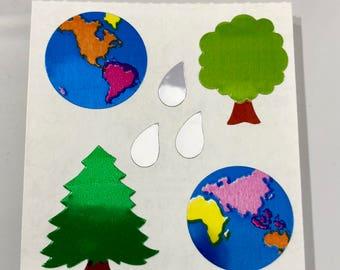 Vintage Rare Sandylion Mylar Earth Trees World Stickers