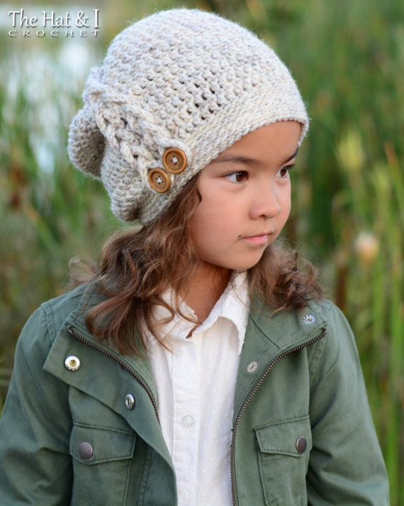 Crochet pattern buttons braids slouchy crochet slouchy crochet pattern buttons braids slouchy crochet slouchy hat pattern w side braid toddler child adult sizes instant pdf download dt1010fo