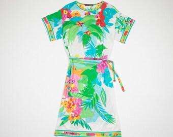 LEONARD-multicolor floral cotton dress-floral cotton dress Multicolor