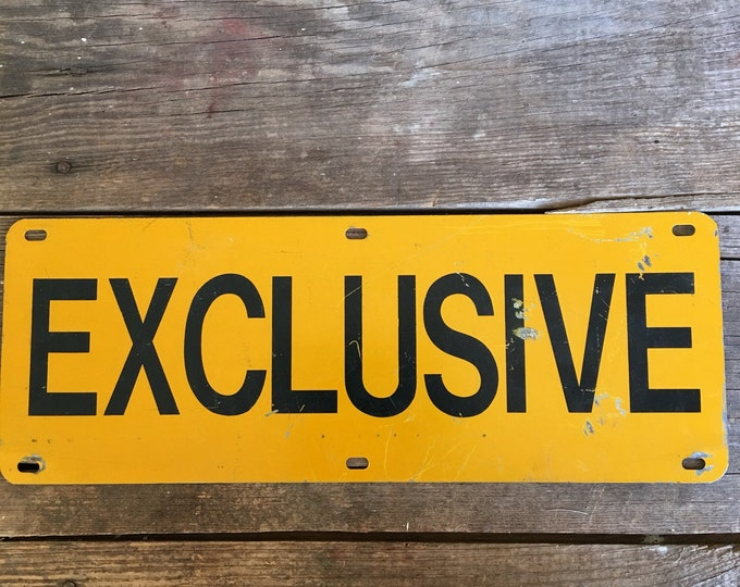 Exclusive Vintage Metal Sign Yellow Black Industrial Decor