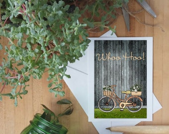 bicycle art, flower bike, congratulations card, graduation, special occasion, Yay!, Whoo Hoo!, Hooray!, all occasions card, art print cards