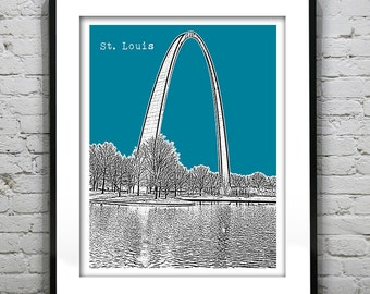 St. Louis Poster City Skyline Art Print Missouri MO St. Louis Arch Version 4