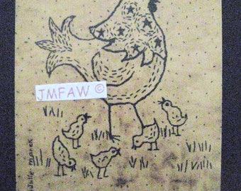 "Primitive Folk Art Print-""Funny Little Folk Art Hen""©-Copyright Lithograph Print of Original Folk Art. 5"" x 7"""