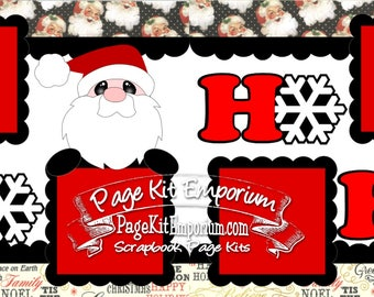 Scrapbook Page Kit Christmas Santa Ho Ho Ho Boy Girl Baby 2 page Scrapbook Layout 058