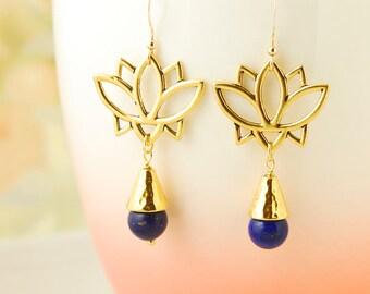 Lapis Lazuli Earrings Gold Lotus Earrings Yoga Earrings Blue Gemstone Earrings Lapis Lazuli Jewelry Boho Earrings Lotus Flower Earrings