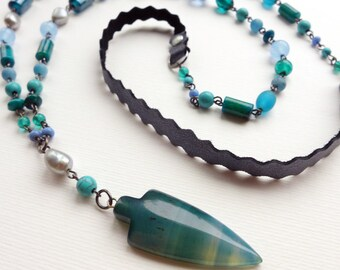 Agate Arrow Necklace, long tribal gemstone arrow necklace