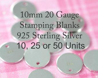 Stamping Blanks Wholesale 10 units , 10 mm 3/8 inch 20 gauge 925 Sterling Silver Bulk