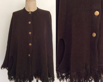 1970's Brown Knit Sweater Poncho Size Fits All by Maeberry Vintage